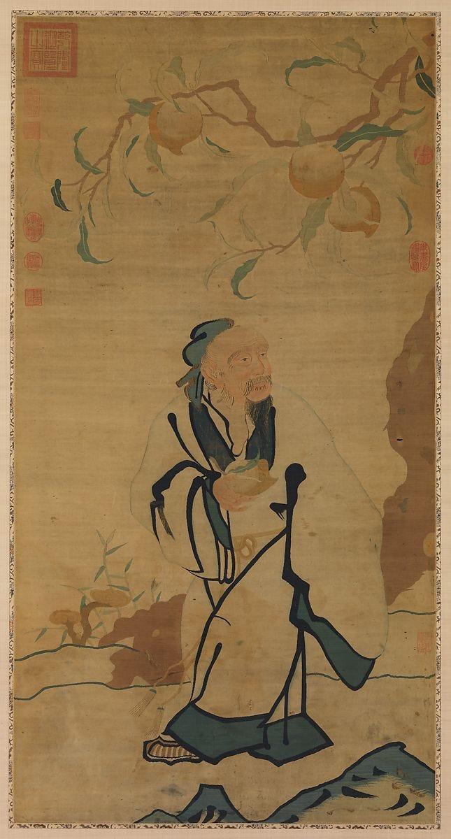 Immortal Holding a Peach, Silk tapestry (kesi), China