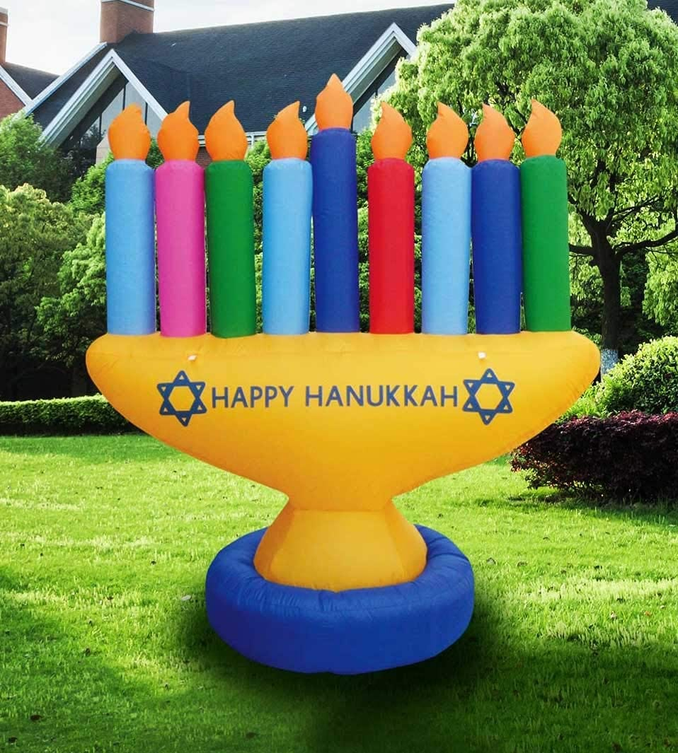 Image result for blow up lawn menorah