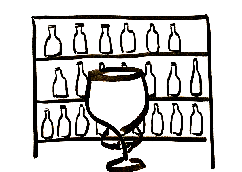 An anthropomorphic wine glass looks at a shelf full of wine bottles