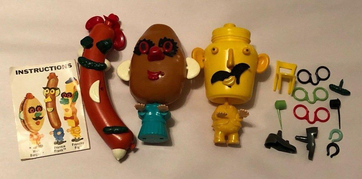 A potato, hot dog, and mustard toy set