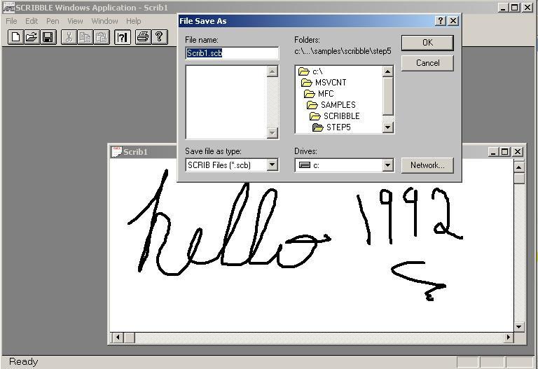 Windows program running called Scribble.