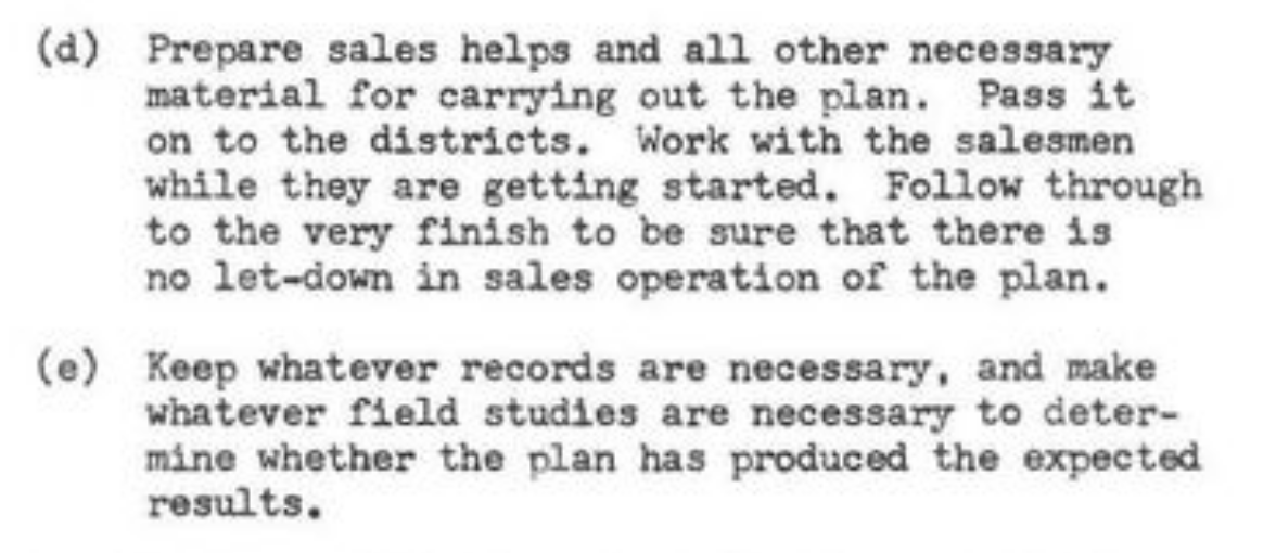 (d) Prepare sales helps and...