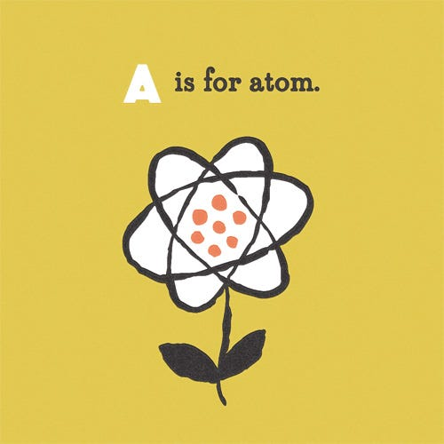 Poster with 'A is for Atom' at the top, and a flower whose petals make up the rings of the atom.