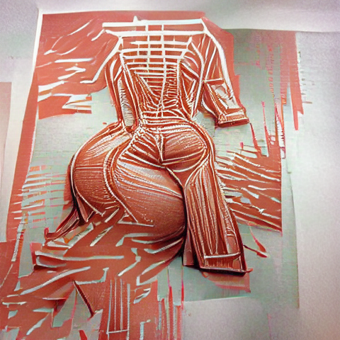 AI generated image of a linocut-print style picture in the general color of Kim Kardashian's infamous Paper Magazine cover shoot. The print looks vaguely like a curvy female form.