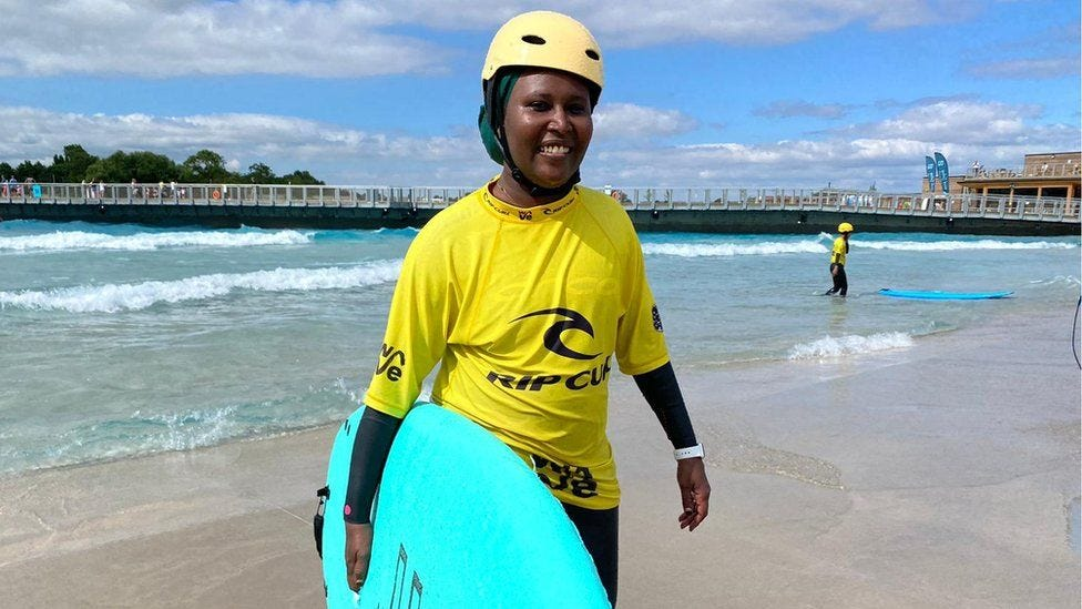 Wafa suliman (former Sudanese swim champ) taking part in Open Minds Active project - encouraging women of colour to swim