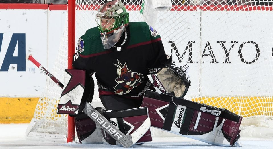 Coyotes' Antti Raanta leaves game with lower-body injury