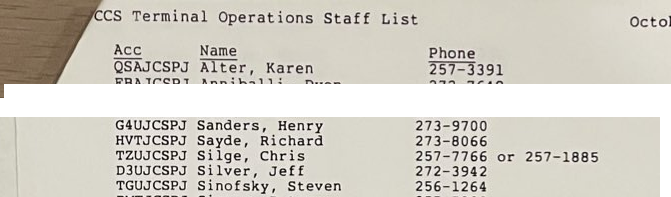 Cornell Comupter Services Terminal Operator List from October 1985, names including Steven Sinofsky and Henry Sanders