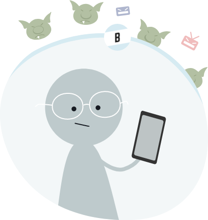 Gray animated character with glasses holding a phone in a safe bubble that is blocking out animated Internet trolls.