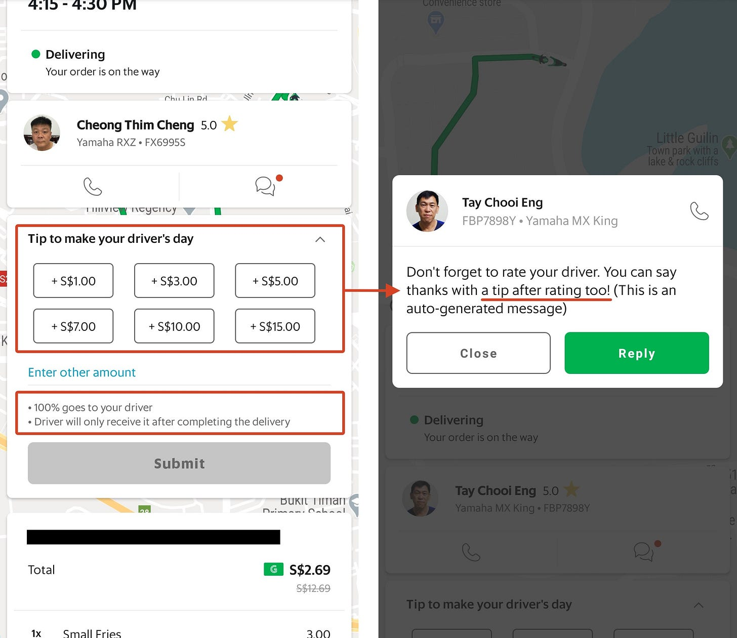 UI design for the current UX in Grab for Delivery Rider tipping.