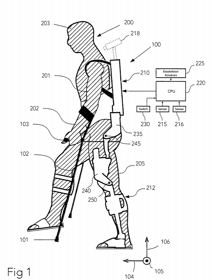 A patent drawing of the wearable robot.