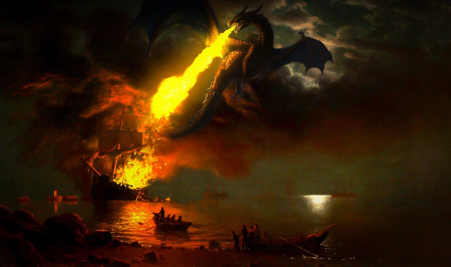 dragon burning ship
