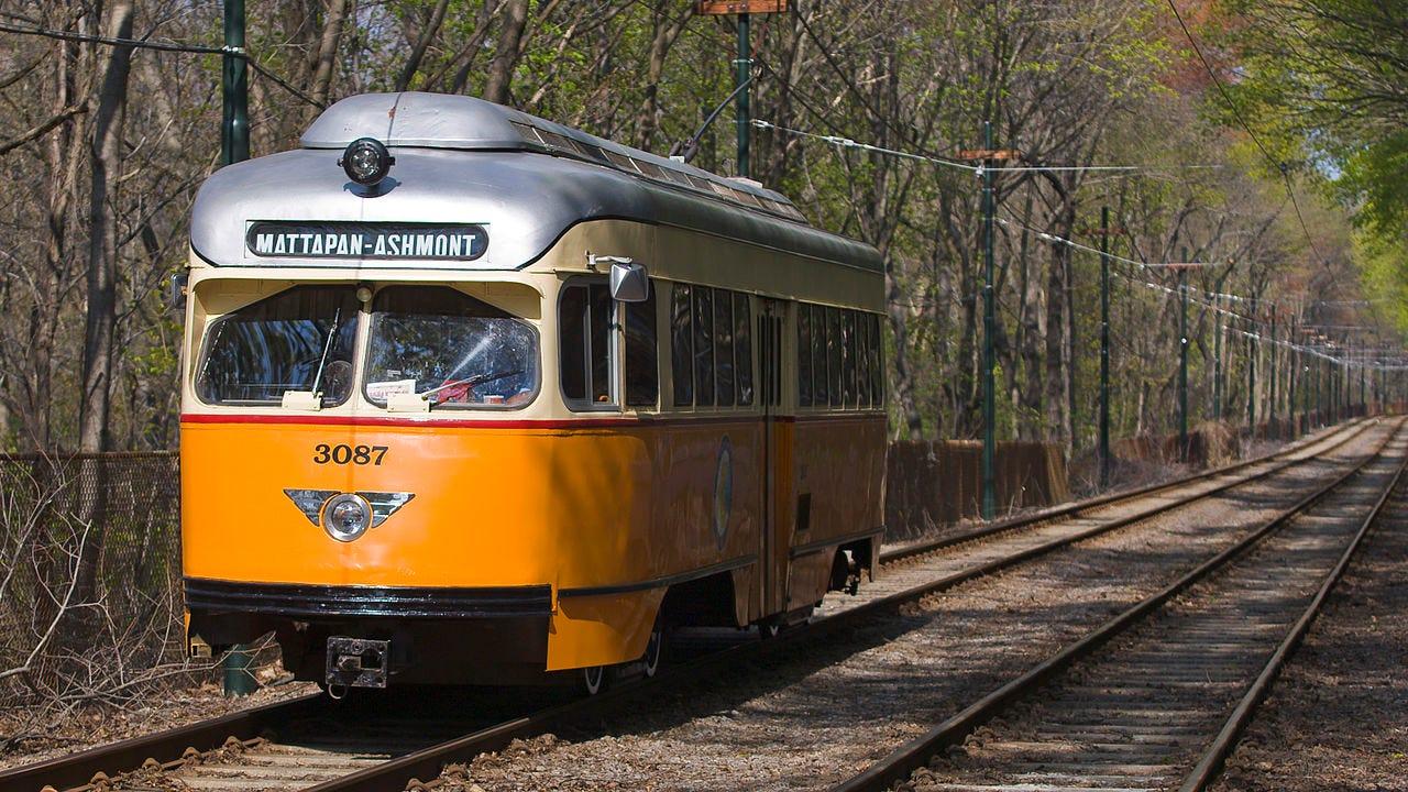 Ashmont Mattapan streetcar in woods.jpg