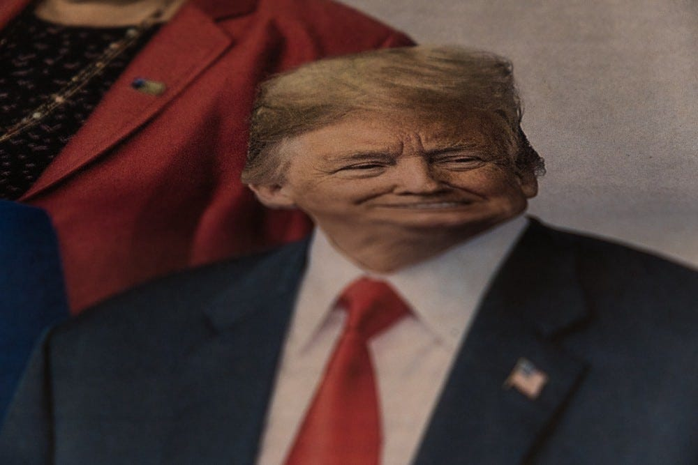 A photo of US President Donald Trump looking like it's in a funhouse mirror