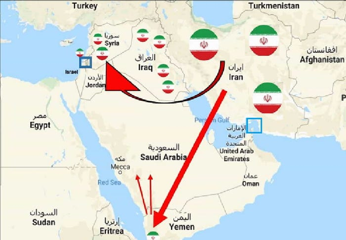 Iran's presence and influence in the middle east. (activities in other regions not included)