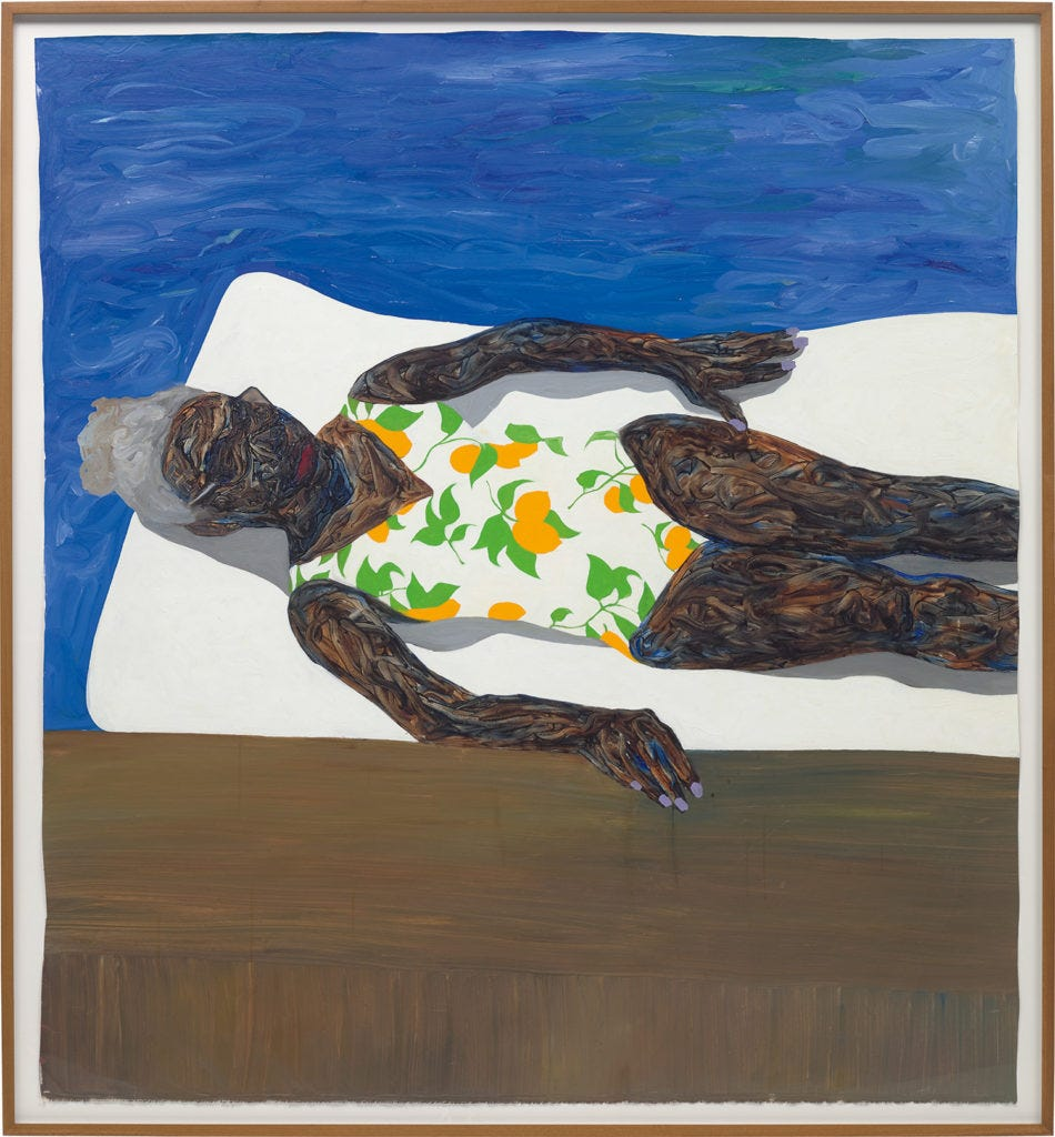 Amoako Boafo's The Lemon Bathing Suit (2019) sold for a stunning £675,000 ($881,432) against a £30,000 to £50,000 estimate ($39,130 to $65,217). Courtesy of Phillips.