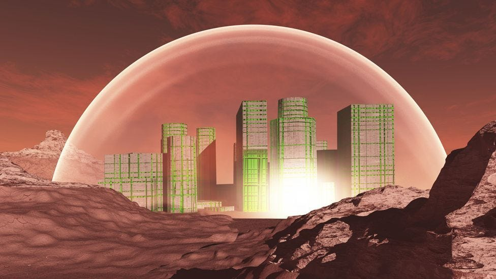 drawing of a Mars colony under a dome | Product Thinking by Kyle Evans