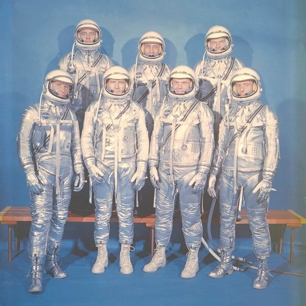 The original seven Mercury astronauts in their spacesuits in 1962.