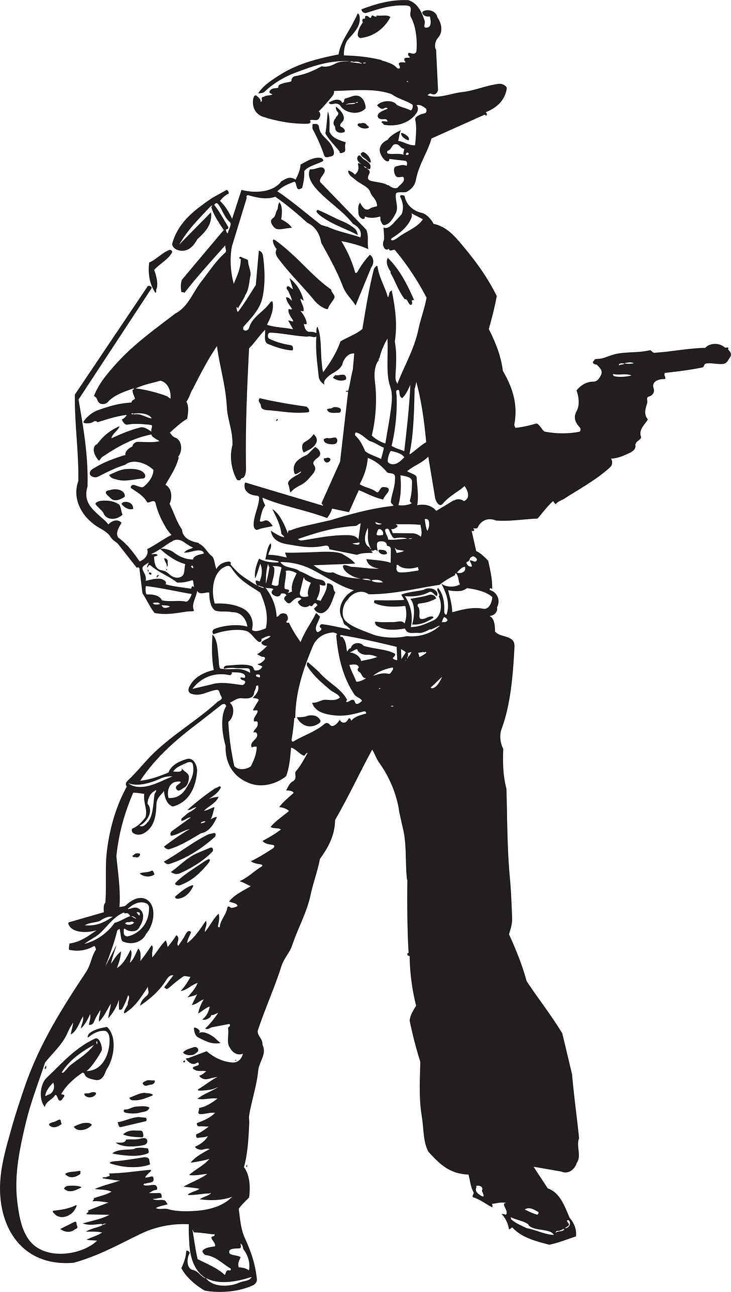 Black-and-white cartoon sketch of a cowboy standing in a wide stance, face scowling, right fist clenched and pistol drawn.