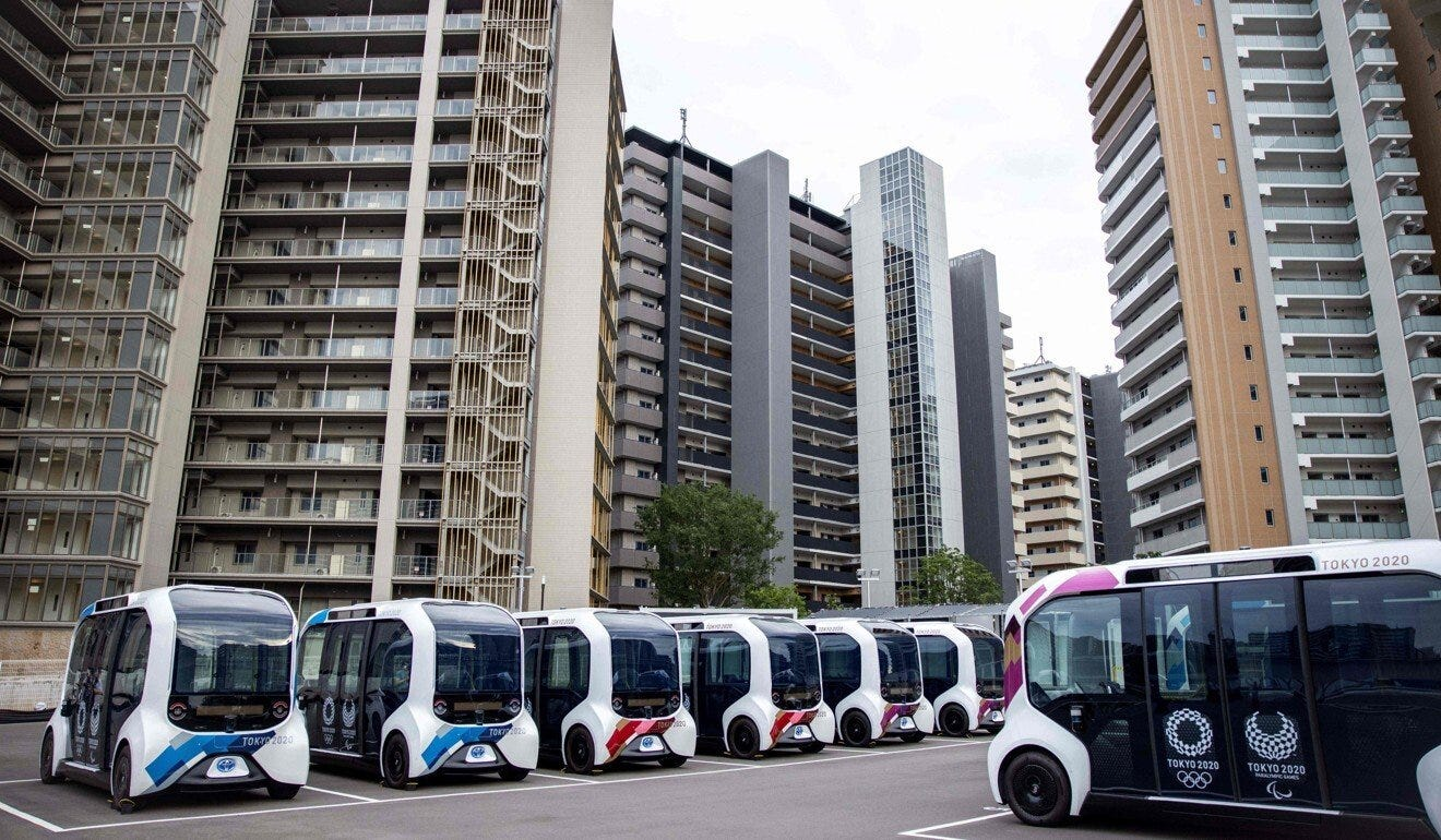 Autonomous electric vehicles that will be used at the Olympic Village. Photo: AFP