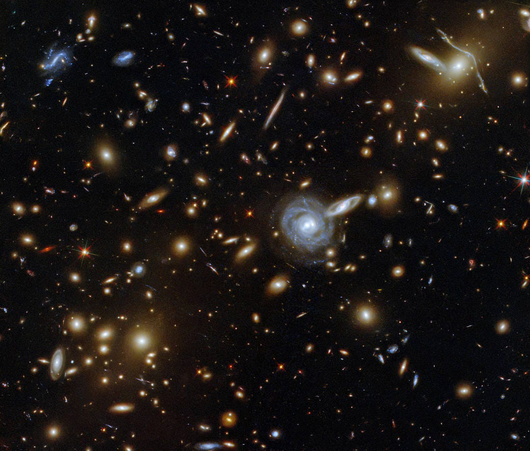 This packed image taken with the NASA/ESA Hubble Space Telescope showcases the galaxy cluster ACO S 295, as well as a jostling crowd of background galaxies and foreground stars.
