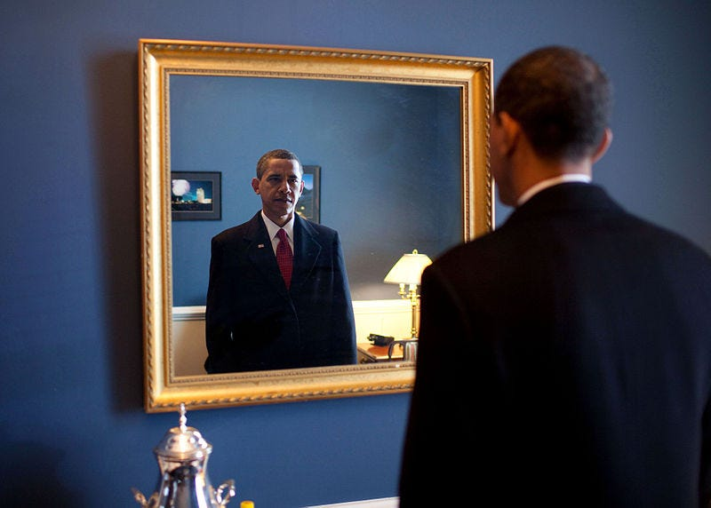 File:Barack Obama takes one last look in the mirror, before going out to take oath, Jan. 20, 2009.jpg