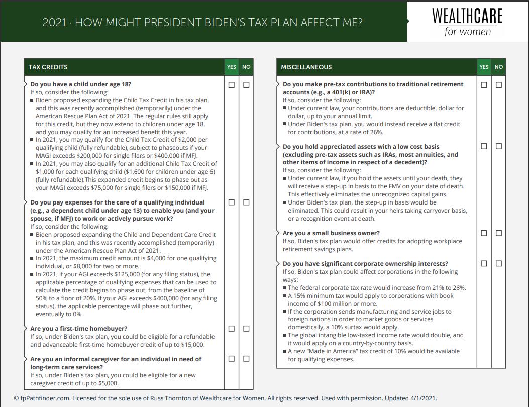 2021 Biden Tax Plan Checklist