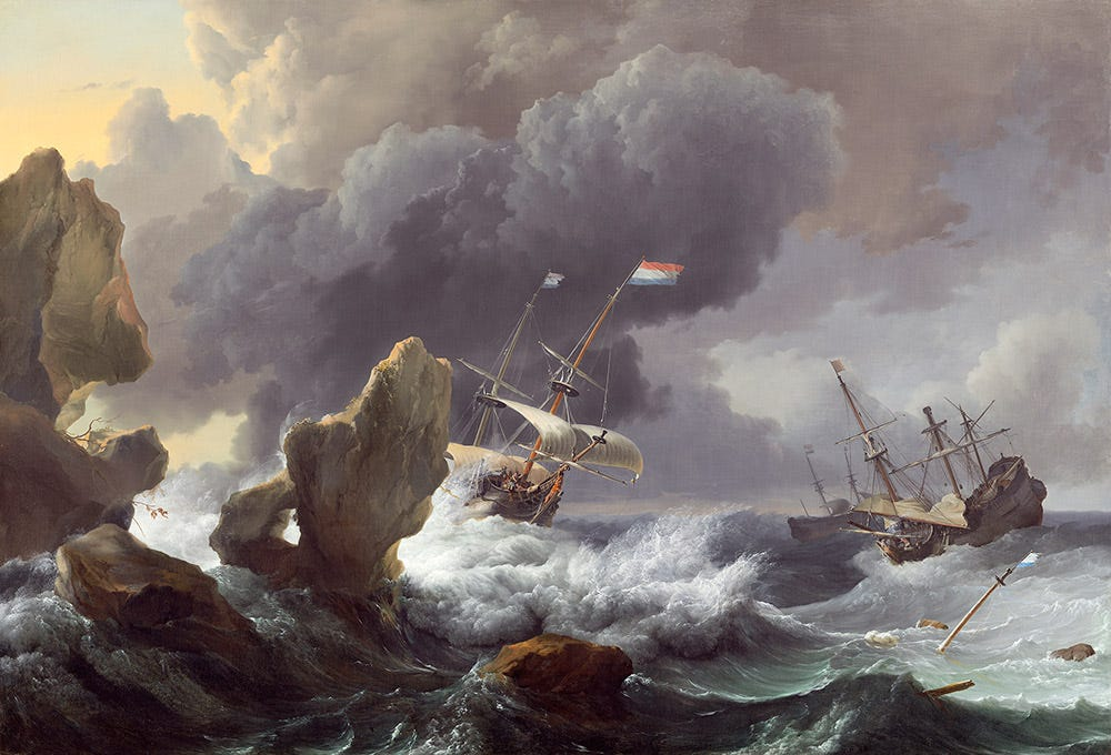 """Ships in Distress off a Rocky Coast,"""" 1667 