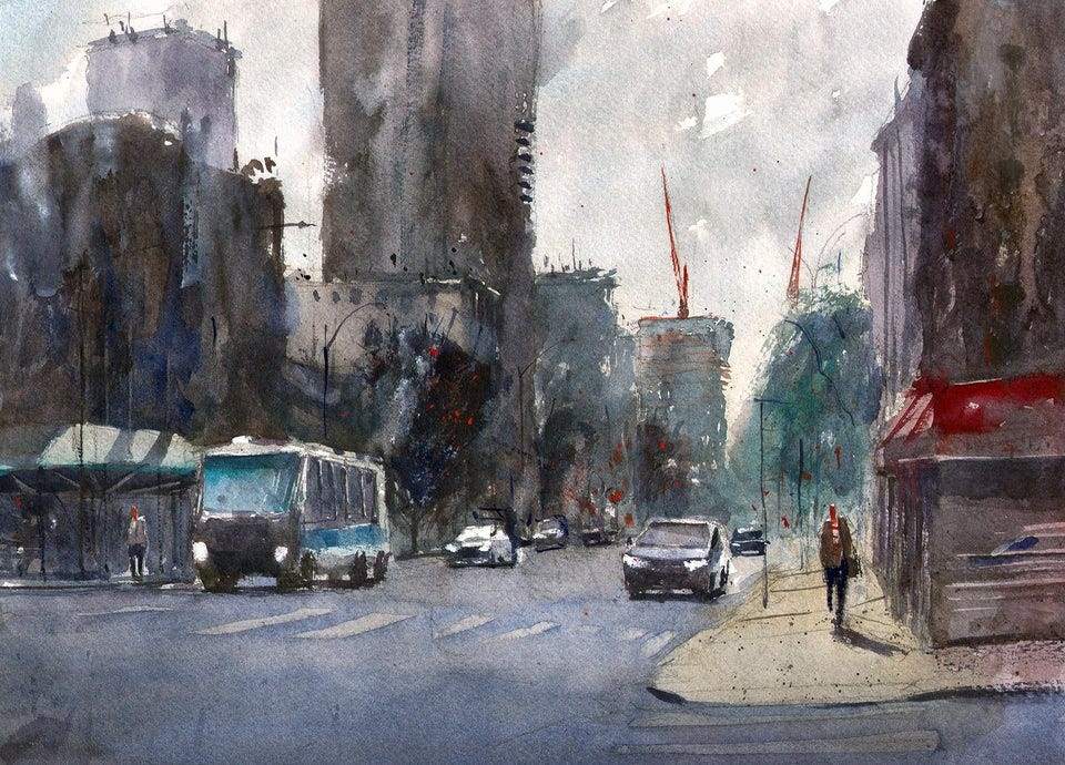 r/nyc - Did some watercolor painting outside my place in Harlem