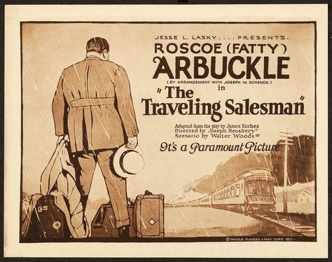Traveling Salesman (1921) Stars: Roscoe 'Fatty' Arbuckle, Betty Ross Clarke, Frank Holland ~ Director: Joseph Henabery