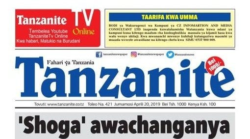 """Jasusi on Twitter: """"Late Magufuli's legacy: weaponisation of homophobia as  a political strategy. His political hitman, a hack called Musiba, branded  everyone criticising the tyrant """"shoga"""" (""""gay"""" in Swahili) with Tanzanite  newspaper"""