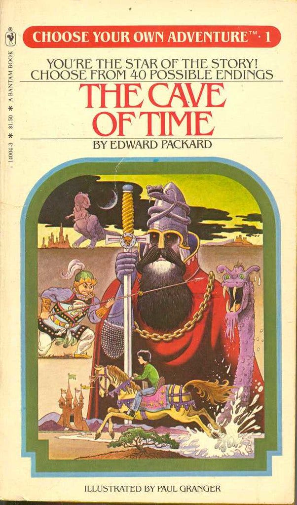 """Cover of """"The Cave of Time"""" by Edward Packard. """"Choose your own adventure returns!!"""" by Ian Kershaw is licensed under CC BY-NC-ND 2.0"""