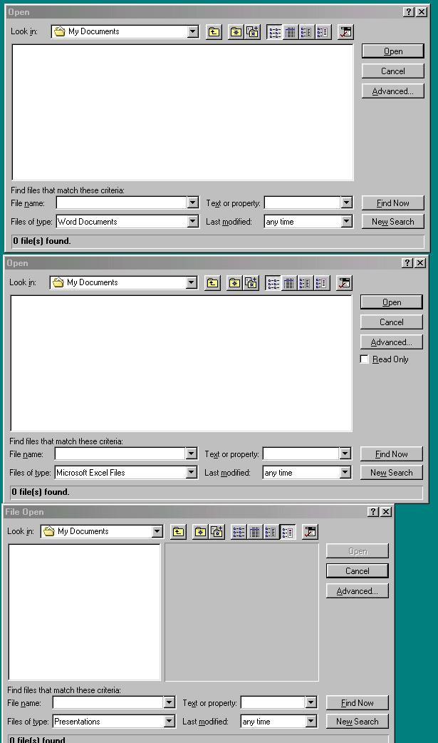 File open across Word, Excel, PowerPoint