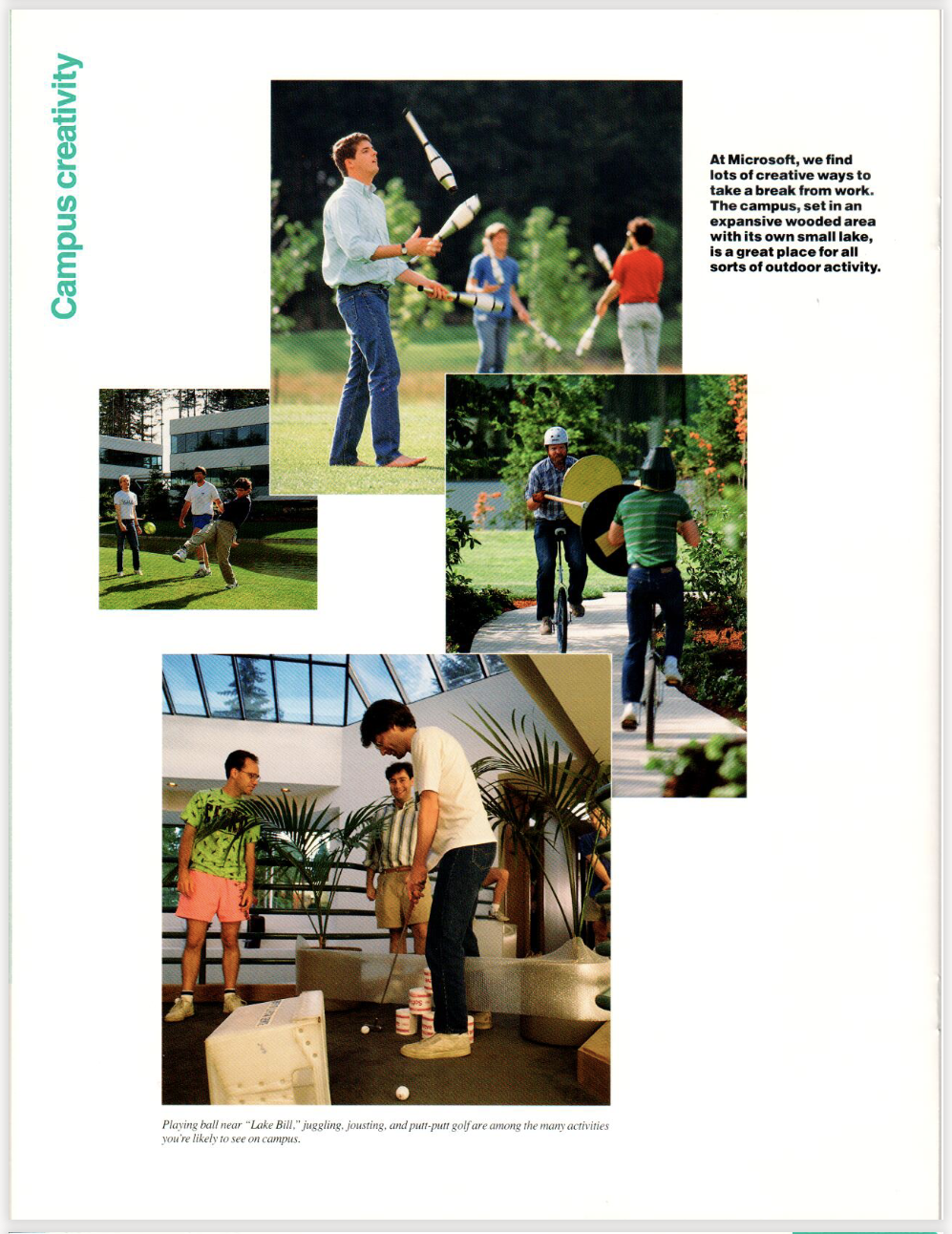 Page from a brochure featuring four photos. One is of people juggling in sunshine. One is people playing soccer, but wearing work clothes. Another are two people medieval jousting on unicycles. The final photo are several people putting golf balls in a hallway.