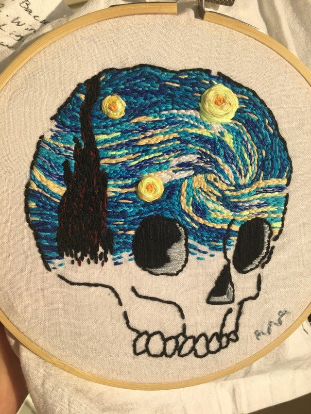 r/Art - Starry Night, me, embroidery on cloth, 2020