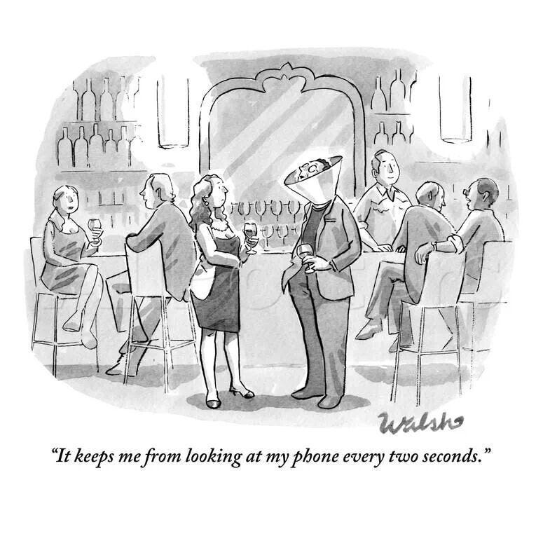 """Man with Dog Cone of Shame - """"it keeps me from looking at my phone every  two seconds."""" 