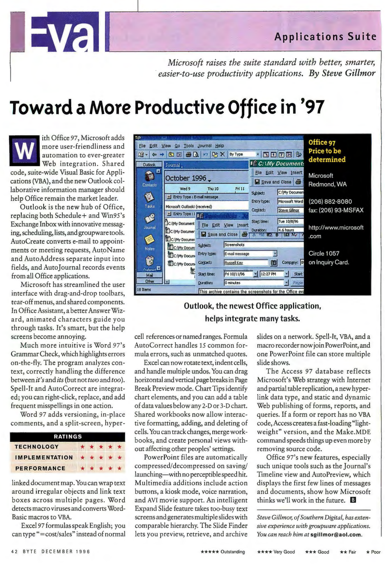 Byte Magazine review showing 5 stars across technology, implementation, performance)