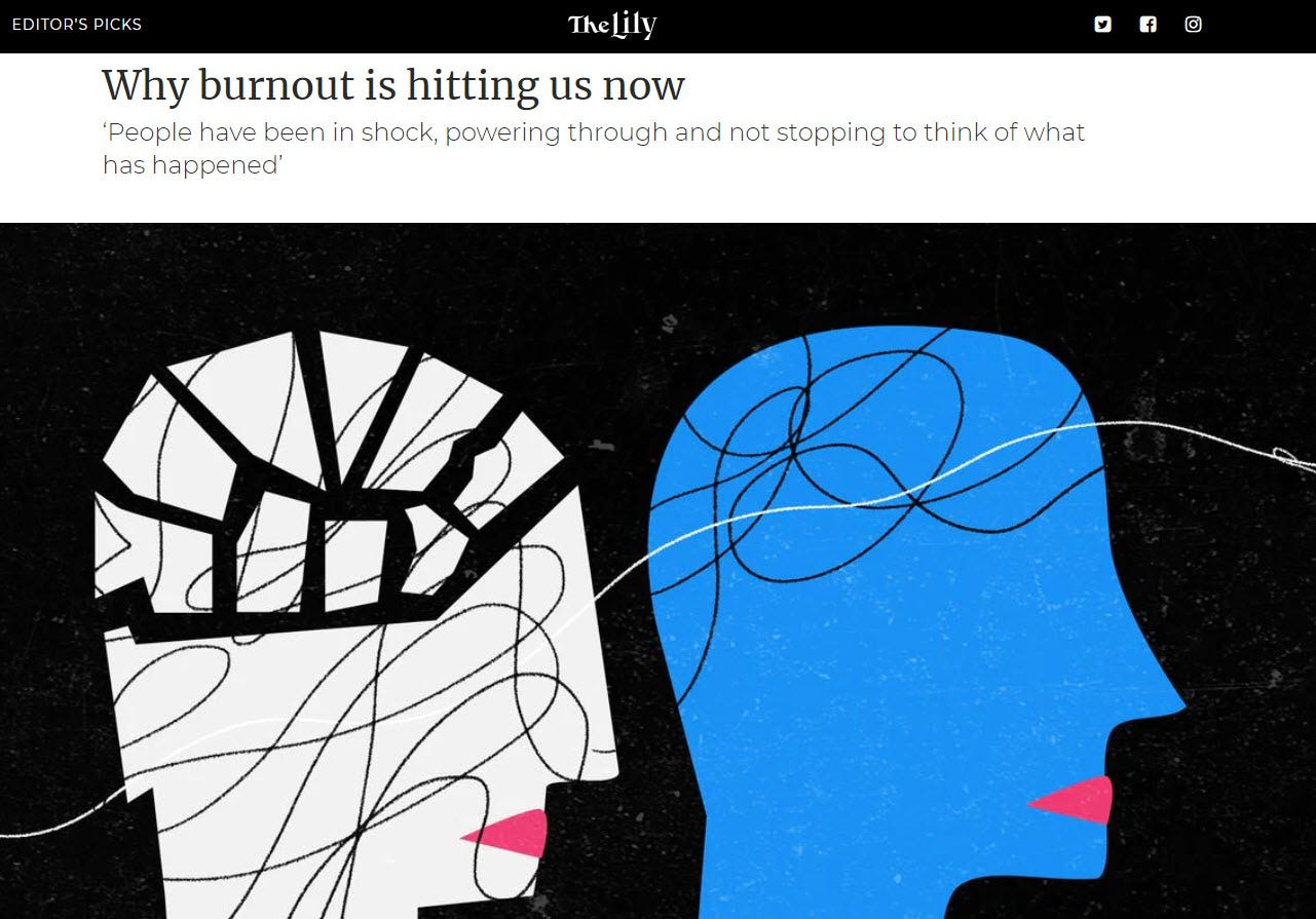 Screenshot from an article thelily.com with the headline 'Why burnout is hitting us now'
