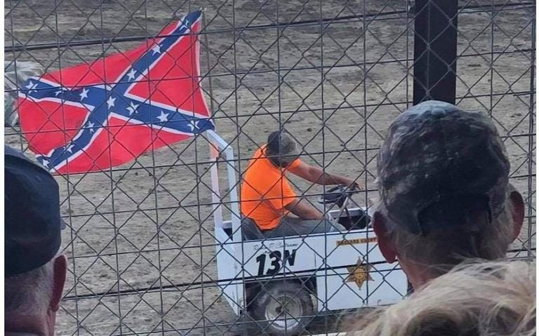 A Confederate flag flown during the 2021 Kandiyohi County Fair has been denounced by the Kandiyohi County Sheriff's Office and the Kandiyohi County Fair Board Association.  Photo courtesy of the Kandiyohi County Sheriff's Office.