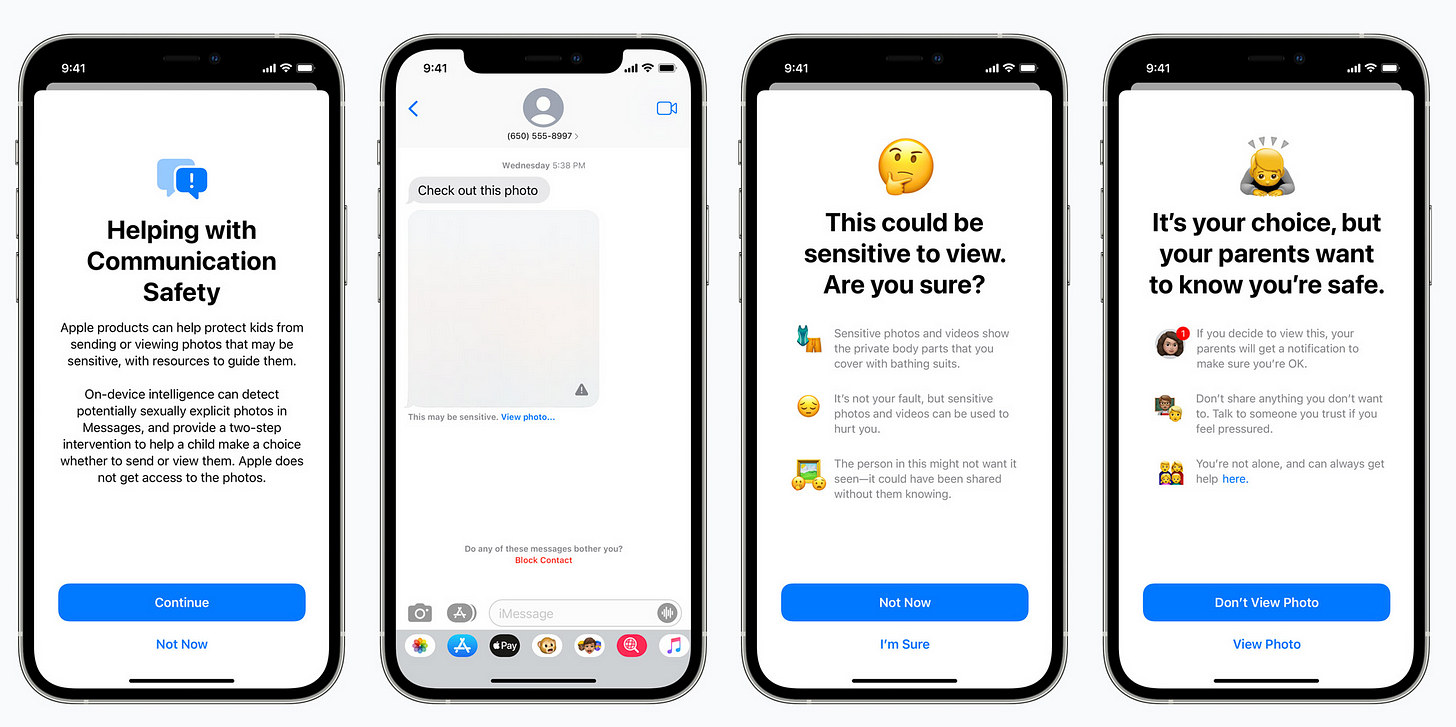Screenshots of Apple's new messages about sensitive images (Apple)