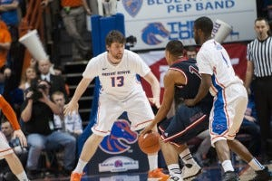Duncan playing solid defence against Saint Mary's - Courtesy Boise State Athletics