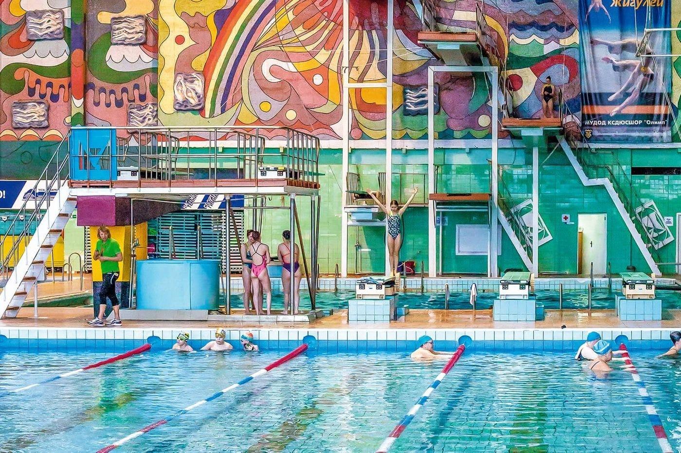 Soviet mosaic inside the 'Olymp' swimming pool in Tolyatti