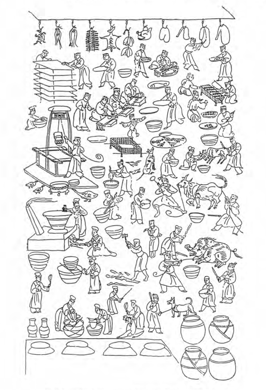 A black and white hand drawn reproduction of a busy kitchen scene in Han times
