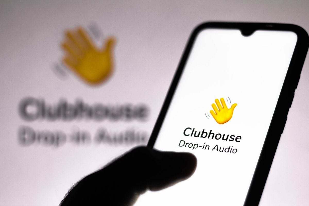 Image result for clubhouse logo drop in audio