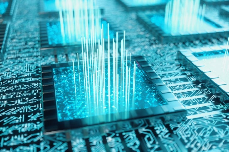 AI – artificial intelligence concept. Machine learning. Central Computer Processors on the circuit board with luminous tracks. Encoded data. Computer chip over circuit background, 3D illustration