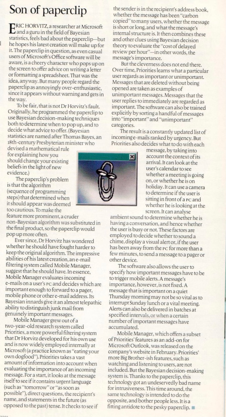 """""""Son of Paperclip"""" article in the Economist. It contains the paragraph """"To be fair, that is not Dr Horvitz's fault."""" and goes on to explain how the product team did not really listen to him."""