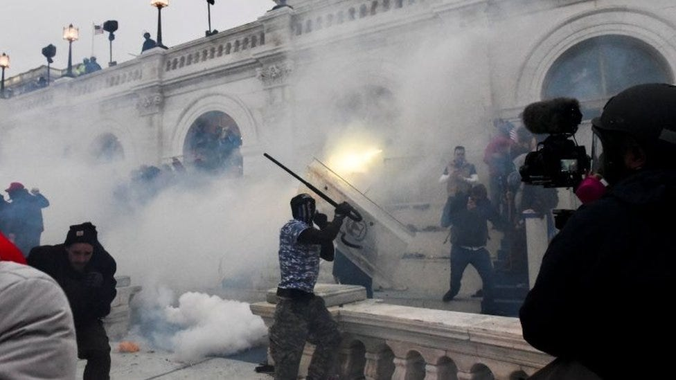 Tear gas is used to disperse protesters at the Capitol building