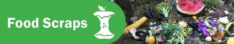 Compost logo and food scraps