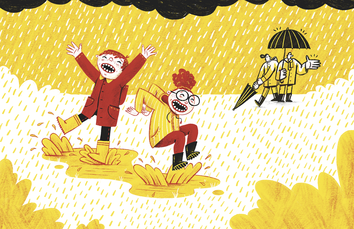 Two children jump in puddles while their parents watch from under their umbrellas.