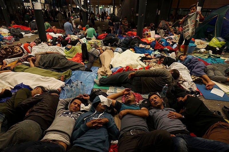 File:Syrian refugees having rest at the floor of Keleti railway station. Refugee crisis. Budapest, Hungary, Central Europe, 5 September 2015.jpg
