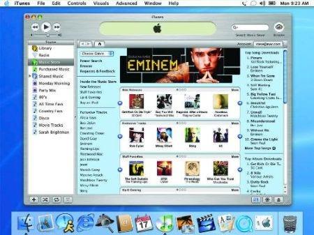 uma imagem da interface do iTunes na época do seu lançamento, em 2003.